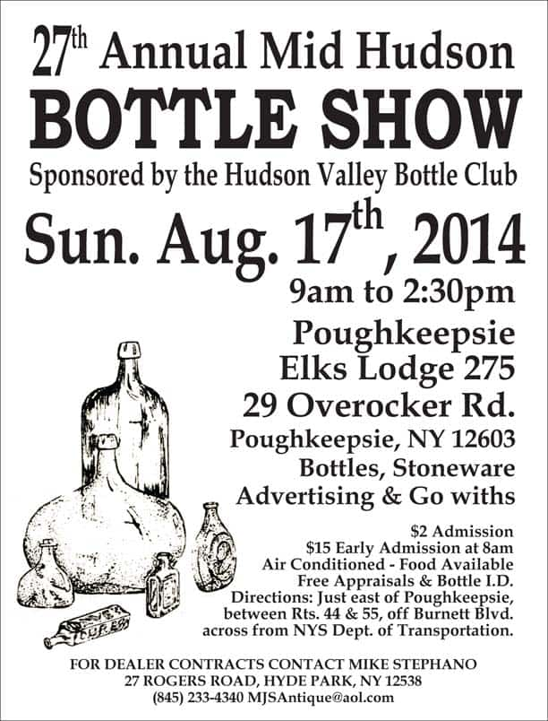 Hudson Valley Bottle Club 27th Annual Mid Hudson Bottle Show & Sale @ Poughkeepsie Elks Lodge 275 | Poughkeepsie | New York | United States