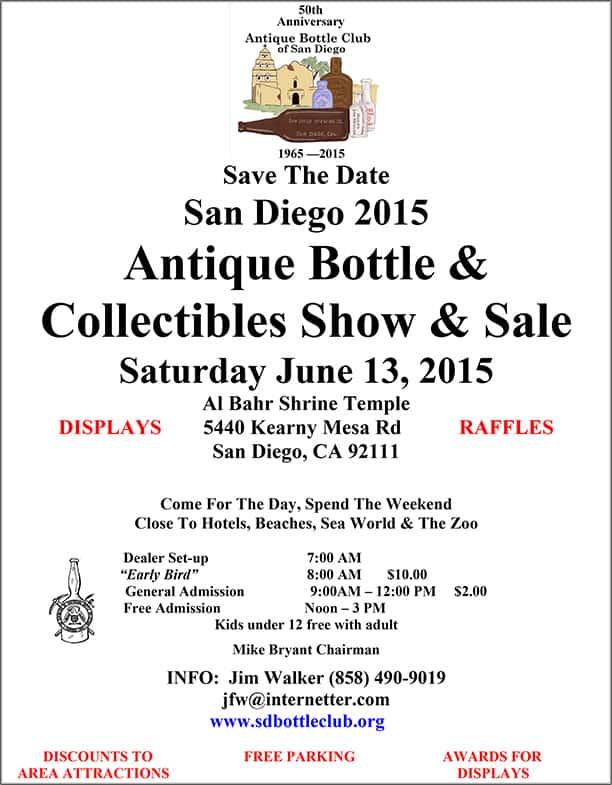 San Diego 2015 Antique Bottle & Collectibles Show & Sale @ Al Bahr Shrine Temple | San Diego | California | United States