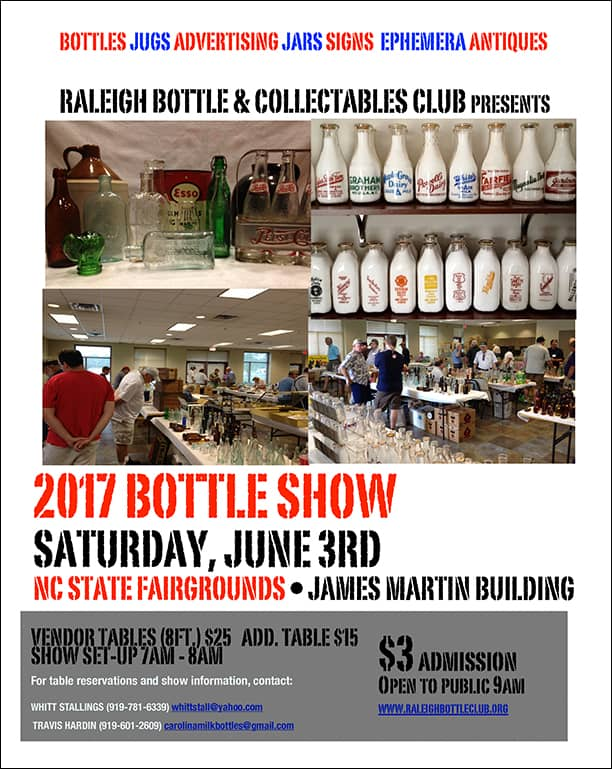 Raleigh Bottle & Collectibles Club presents their 2017 Bottle Show  @ NC State Fairgrounds James Martin Building