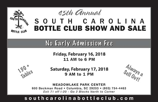 45th Annual South Carolina Bottle Club Show and Sale @ Meadowlake Park Center | Columbia | South Carolina | United States