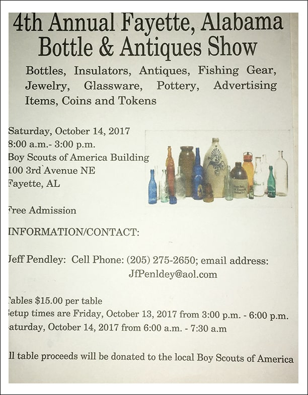 4th Fayette, Alabama Antique and Bottle Show @  Boy Scout of America Building | Fayette | Alabama | United States