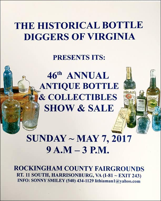 Historical Bottle-Diggers of Virginia 46th Annual Antique Bottle and Collectible Show & Sale @ Rockingham County Fairgrounds
