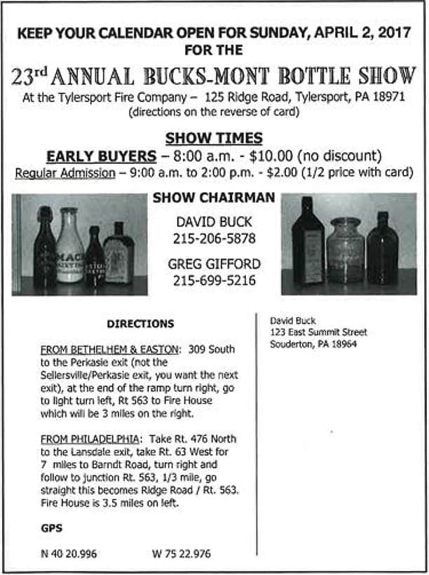 The 23rd Annual Bucks-Mont Bottle Show & Sale @ Tylersport Fire Compay