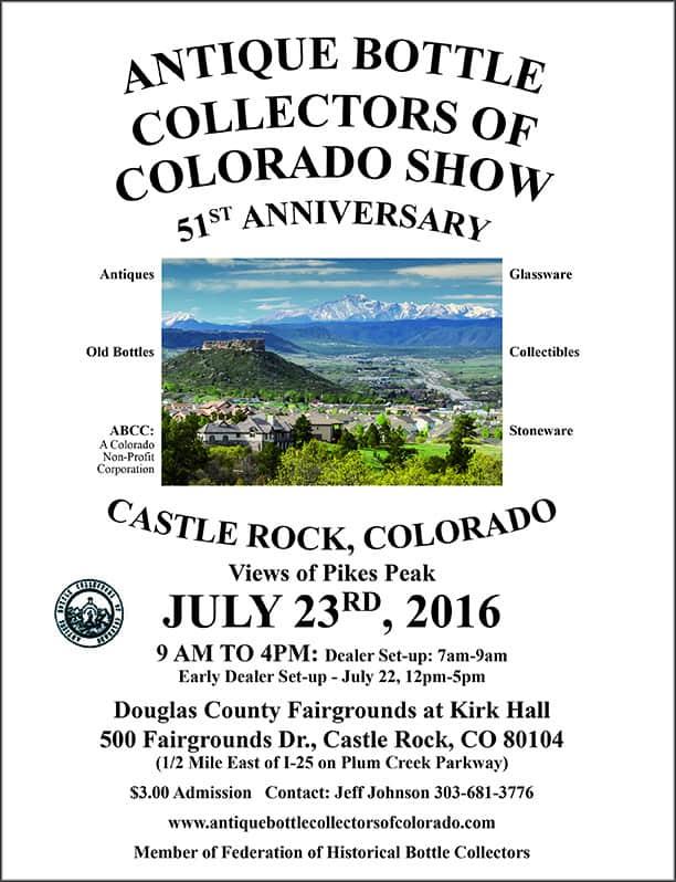 51st Anniversary Antique Bottle Collectors of Colorado Show  @ Douglas County Fairgrounds at Kirk Hall | Castle Rock | Colorado | United States