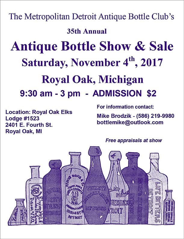 The 35th Metropolitan Detroit Antique Bottle Club's 35th Annual Antique Bottle Show & Sale @ Royal Oak Elks Lodge #1523 | Royal Oak | Michigan | United States