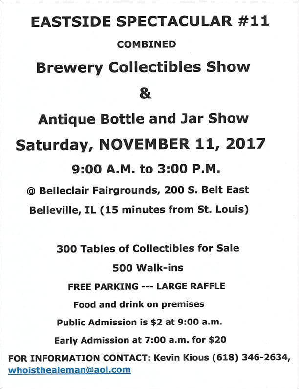 Eastside Spectacular #11 Combined Brewery Collectibles Show & Antique Bottle and Jar Show