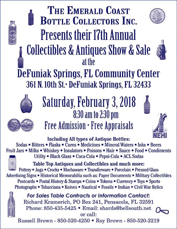 The Emerald Coast Bottle Collectors, Inc. 17th Annual Show and Sale @ DeFuniak Springs Community Center | DeFuniak Springs | Florida | United States