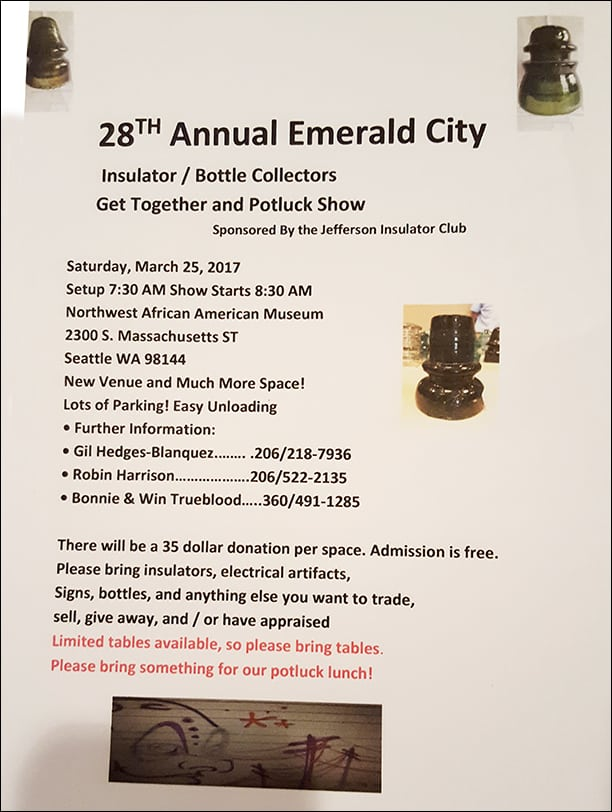 28th Emerald City Insulator & Bottle Collectors Get Together and Potluck Show sponsored by the Jefferson Insulator Club @ Northwest African American Museum | Seattle | Washington | United States