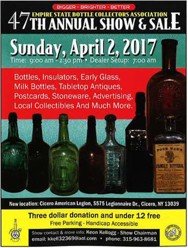 Empire Bottle Collectors Association 47th Annual Show & Sale @ Cicero American Legion | Cicero | New York | United States