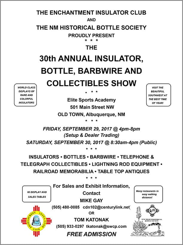 30th EIC/NMHBS Annual Insulator, Bottle & Collectibles Show @ Elite Sports Academy | Albuquerque | New Mexico | United States