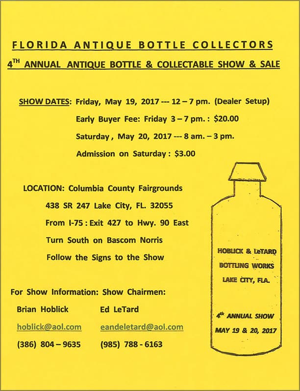 The Florida Antique Bottle Collector 4th Annual Antique Bottle & Collectible Show and Sale @ Columbia County Fairgrounds   Lake City   Florida   United States