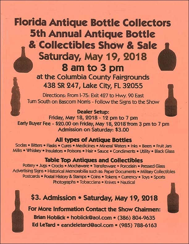 Florida Antique Bottle Collectors 5th Annual Antique Bottle & Collectibles Show & Sale @ Columbia County Fairgrounds | Lake City | Florida | United States