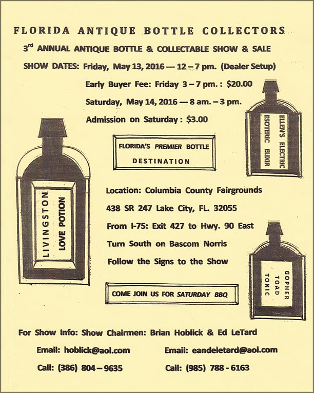 The Florida Antique Bottle Collector 3rd Annual Antique Bottle & Collectable Show and Sale @ Columbia County Fairgrounds