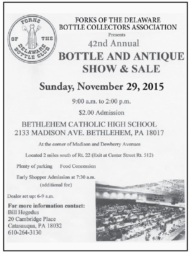 Forks of the Delaware Bottle Collectors Association 42nd Annual Show & Sale @ Bethlehem Catholic High School | Bethlehem | Pennsylvania | United States