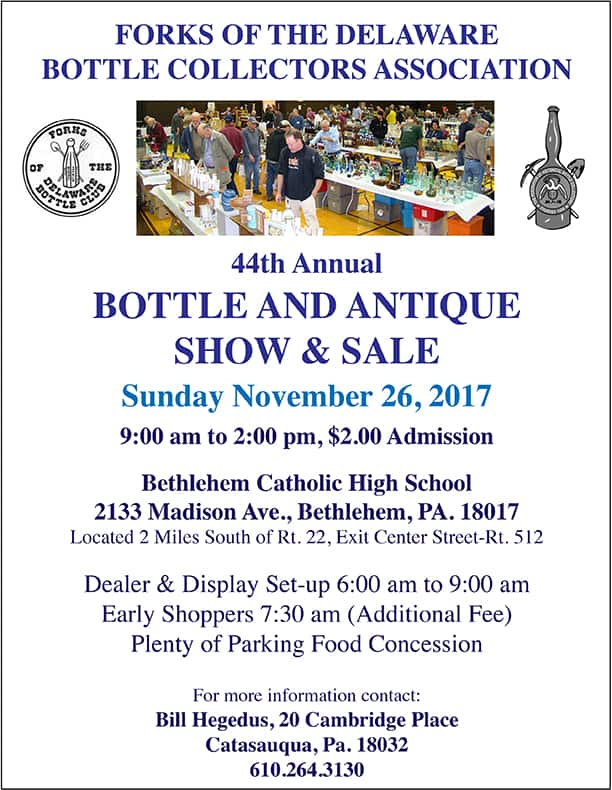 Forks of The Delaware Bottle Collectors Association's 44th Annual Bottle and Antique Show & Sale @ Bethlehem Catholic High School | Bethlehem | Pennsylvania | United States