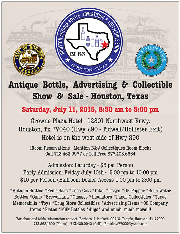 Houston Antique Bottle, Advertising and Collectible Show @ Crowne Plaza Hotel | Houston | Texas | United States