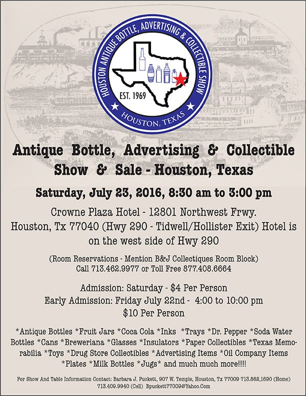 Houston Antique Bottle, Advertising & Collectible Show & Sale  @ Crowne Plaza Hotel  | Houston | Texas | United States