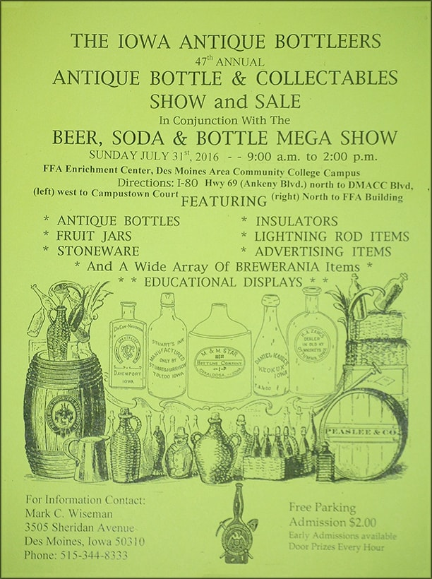 47th Annual Iowa Antique Bottlers Show and Sale @ FFA Enrichment Center at the Des Moines Area Community College Campus | Ankeny | Iowa | United States