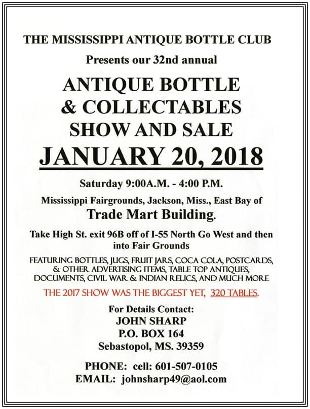 The Mississippi Antique Bottle Club's 32nd Annual Antique Bottle & Collectibles Show & Sale @ Mississippi Fairgrounds | Jackson | Mississippi | United States