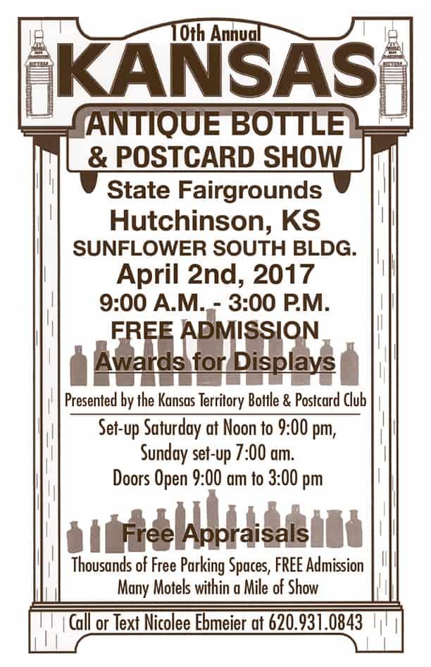 10th Annual Kansas Antique Bottle & Postcard Show @ State Fairgrounds, Sunflower South Building | Hutchinson | Kansas | United States