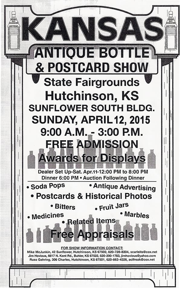 Kansas Antique Bottle & Postcard Show @ State Fairgrounds, Sunflower South Building