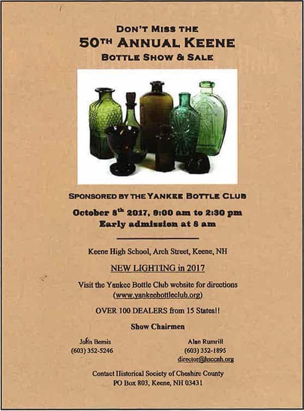 50th Annual Keene Bottle Show & Sale sponsored by the Yankee Bottle Club @ Keene High School | Keene | New Hampshire | United States