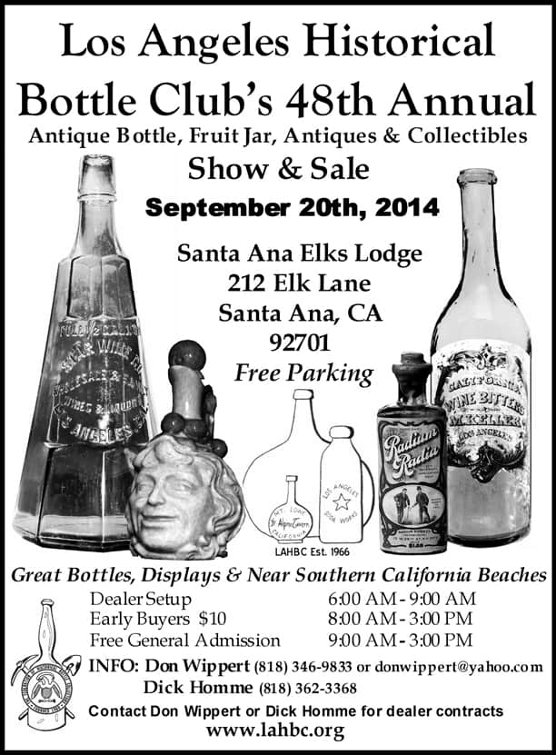48th Annual Los Angeles Historical Bottle Club Antique Bottle, Fruit Jar, Antiques & Collectibles Show & Sale  @ Santa Ana Elks Lodge | Santa Ana | California | United States
