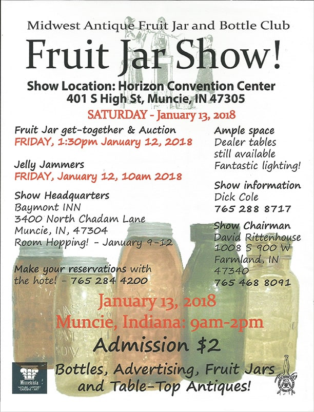 The Midwest Antique Fruit Jar and Bottle Club Annual Show & Sale @ Horizon Convention Center | Muncie | Indiana | United States