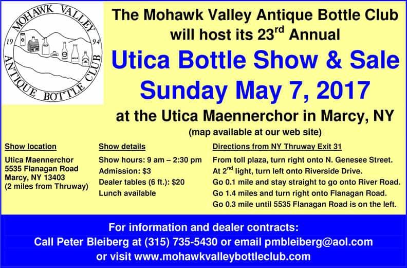 23rd Annual Utica Bottle Show & Sale @ Utica Maennerchor   Marcy   New York   United States