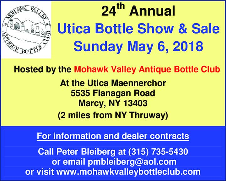 24th Annual Utica Bottle Show & Sale @ Utica Maennerchor | Marcy | New York | United States