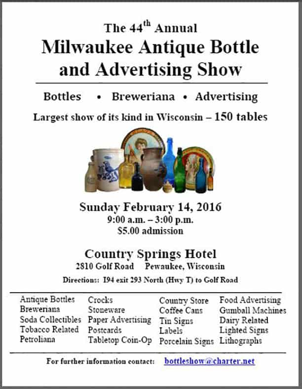 44th Milwaukee Antique Bottle and Advertising Show  @ Country Springs Hotel | Pewaukee | Wisconsin | United States