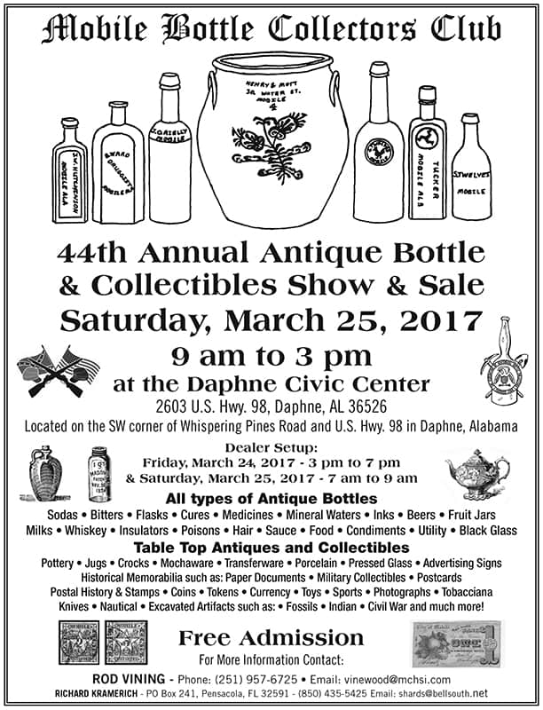 The Mobile Bottle Collectors Club's 44th Annual Show & Sale @ Daphne Civic Center | Daphne | Alabama | United States