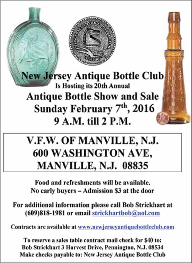 New Jersey Antique Bottle Club (NJABC) 20th Annual Show & Sale @ V.F.W. of Manville New Jersey   Manville   New Jersey   United States