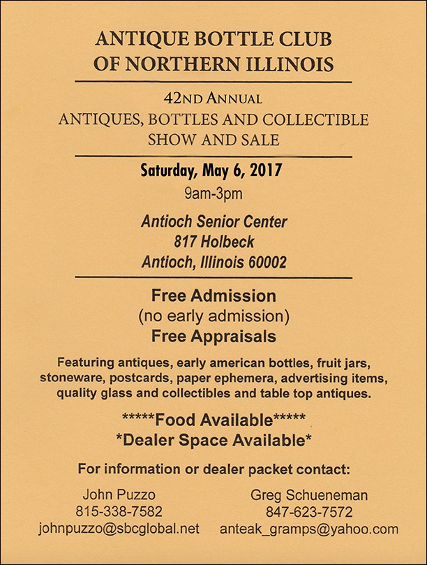 Antique Bottle Club of Northern Illinois 42nd Antiques, Bottles and Collectable Show and Sale @ Antioch Senior Center   Antioch   Illinois   United States