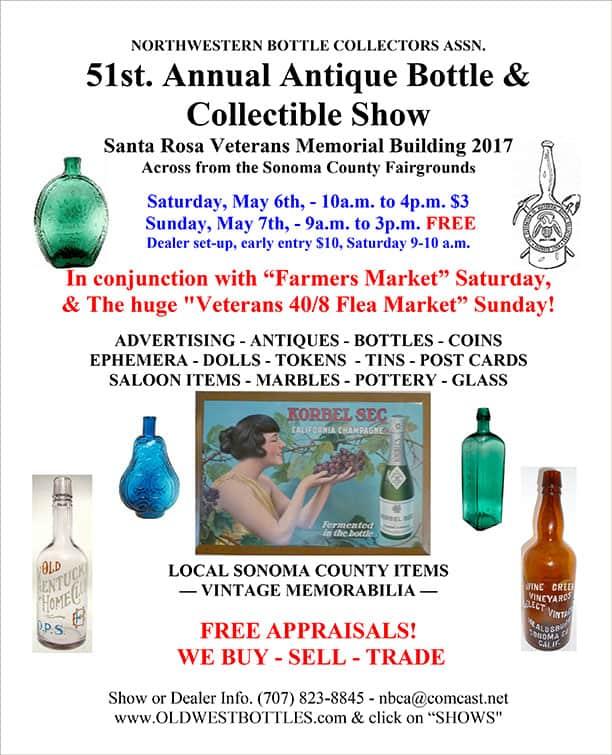 51st Annual Northwestern Bottle Collectors Antique Bottle Show @ Veterans Memorial Building   Santa Rosa   California   United States