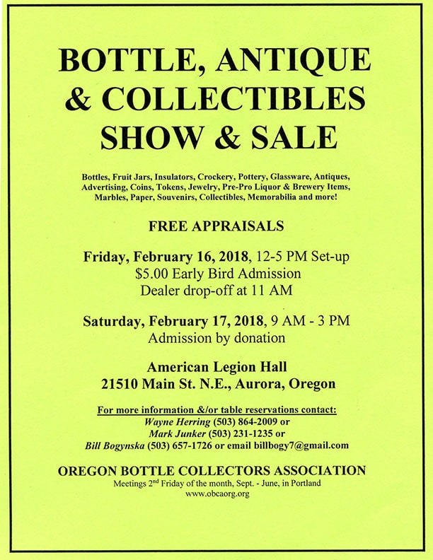 Oregon Bottle Collectors Association Bottle, Antiques, Collectibles Show & Sale @ American Legion Hall | Aurora | Oregon | United States