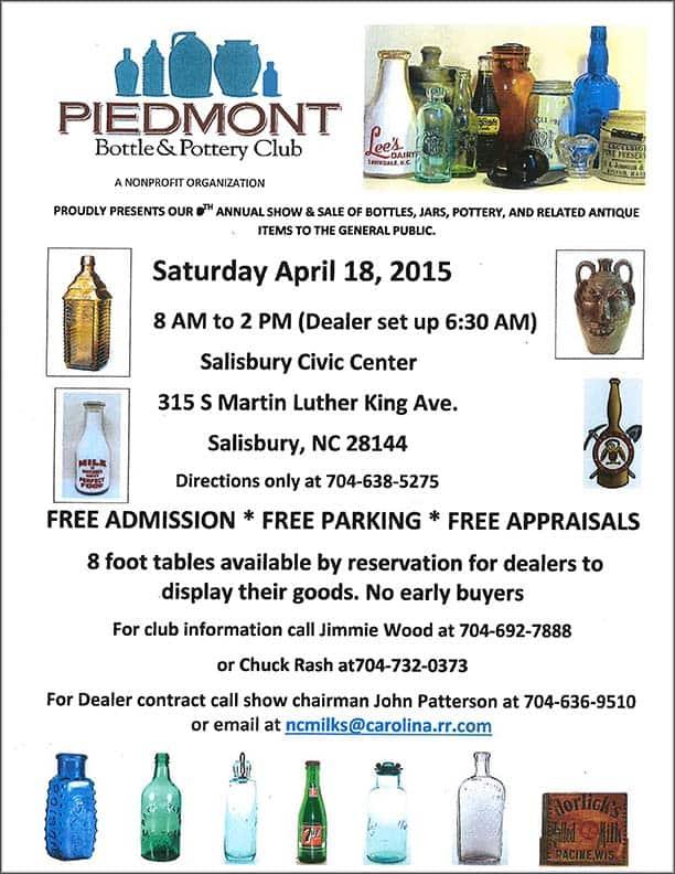 Salisbury, North Carolina - 9th Annual Piedmont Bottle & Pottery Club Show @ Salisbury Civic Center | Salisbury | North Carolina | United States