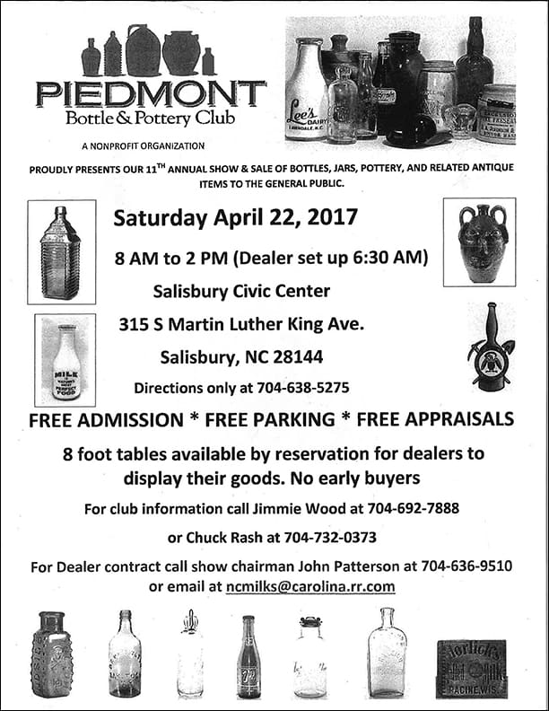 Piedmont Bottle & Pottery Club proudly presents their 11th Annual Show and Sale @ Salisbury Civic Center | Salisbury | North Carolina | United States
