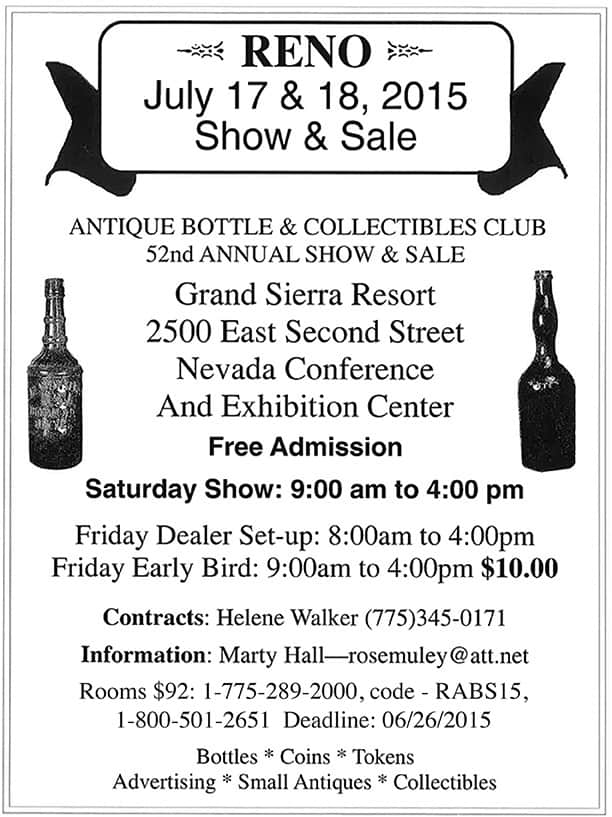 Reno Antique Bottle & Collectibles Club 52nd Annual Show & Sale @ Grand Sierra Resort | Reno | Nevada | United States