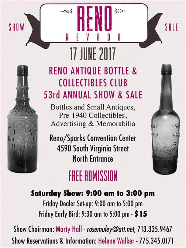 53rd Annual Reno Bottles & Small Antiques Show & Sale @ Reno/Sparks Convention Center   Reno   Nevada   United States