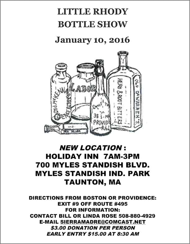 The Little Rhody Bottle Club Annual Show & Sale @ Holiday Inn | Taunton | Massachusetts | United States