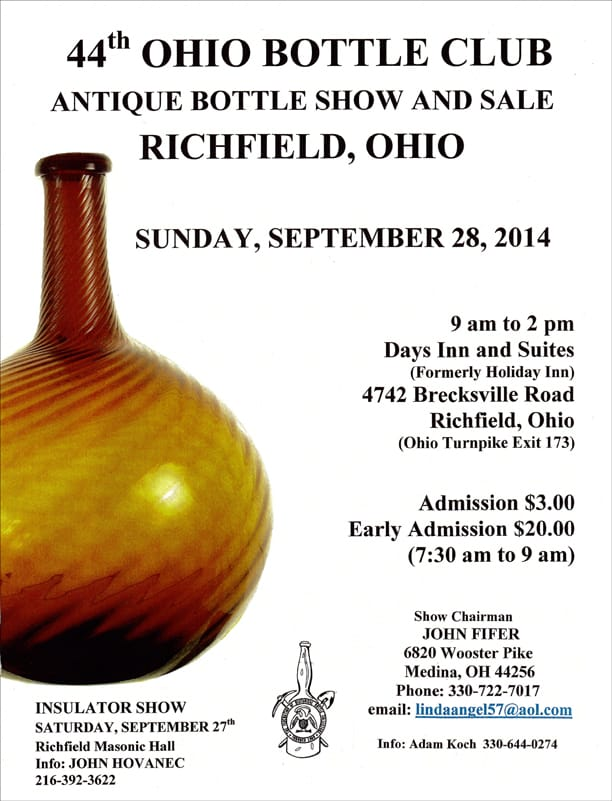 44th Annual Ohio Bottle Club Antique Bottle Show and Sale @ Days Inn and Suites (formerly Holiday Inn) | Richfield | Ohio | United States