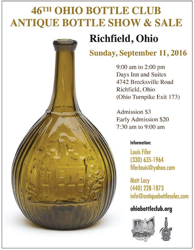46th Annual Ohio Bottle Club Show & Sale @ Days Inn and Suites | Richfield | Ohio | United States