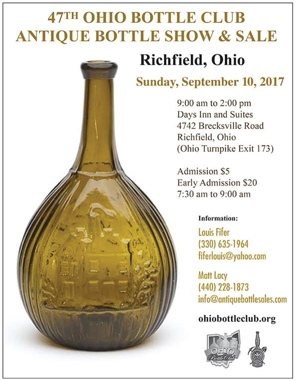 Ohio Bottle Club 47th Antique Bottle Show & Sale @ Days Inn and Suites | Richfield | Ohio | United States
