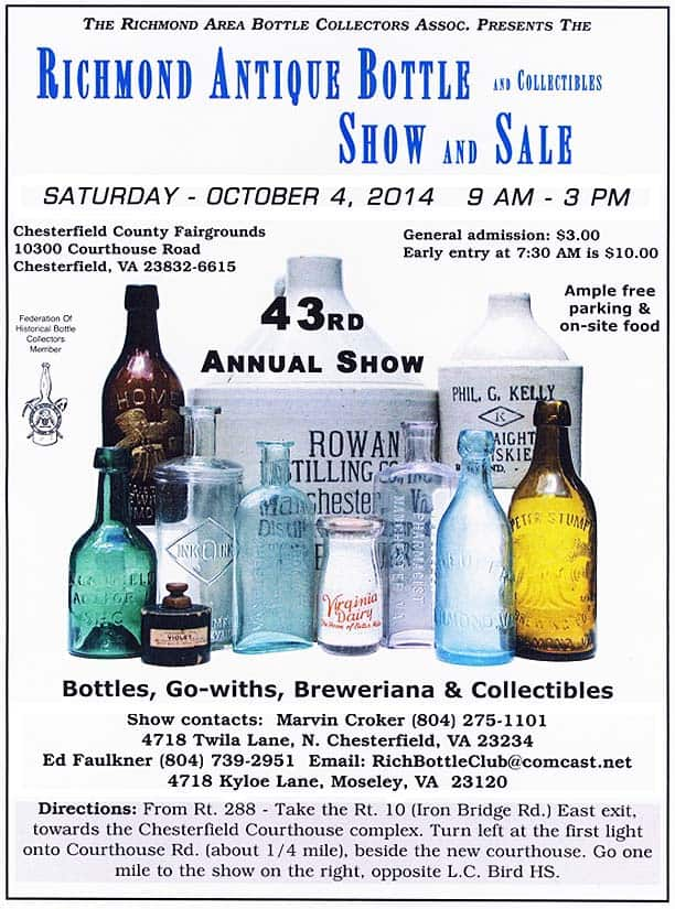 Richmond 43rd Antique Bottle Show and Sale @ Chesterfield County Fairgrounds | Chesterfield | Virginia | United States