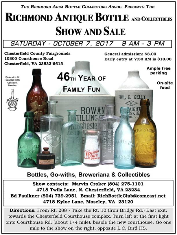 Richmond Antique Bottle and Collectibles 46th Antique Bottle Show and Sale @ Chesterfield County Fairgrounds | Chesterfield | Virginia | United States