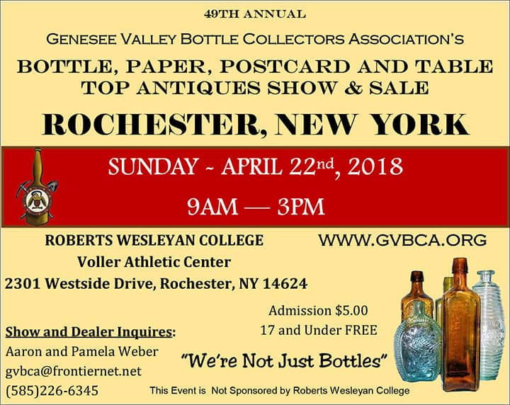 49th Genesee Valley Bottle Collectors Association's Bottle, Paper, Postcard and Table Top Antiques Show & Sale @  Roberts Wesleyen College, Voller Athletic Center | Rochester | New York | United States