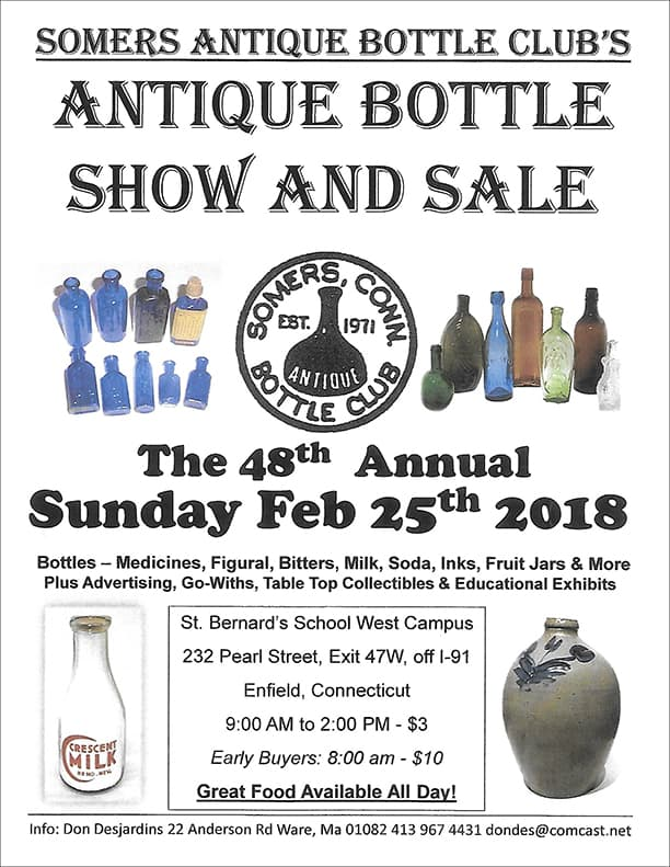 48th Annual Somers Antique Bottle Club's Antique Bottle Show and Sale @ St. Bernard's School West Campus
