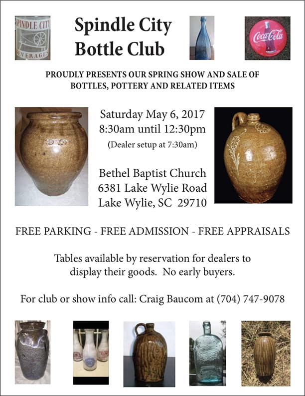 Spring Show and Sale of Bottles, Pottery and Related Items @ Bethel Baptist Church   Clover   South Carolina   United States