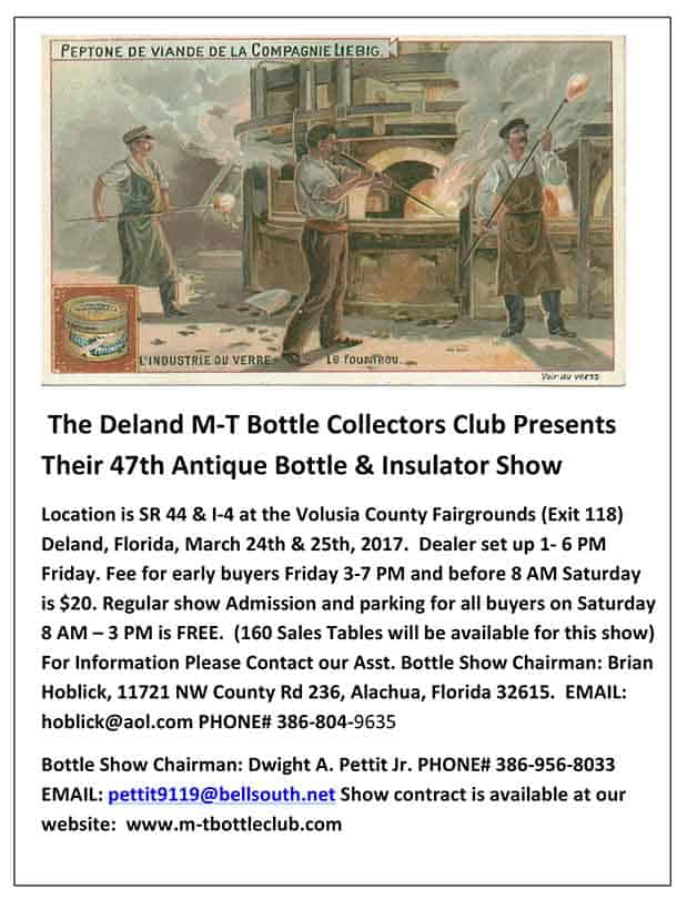 Annual Deland Florida Collectors 47th Antique Bottle, Insulator & Table Top Collectable Show and Sale @ Bill Hestoir Building | DeLand | Florida | United States
